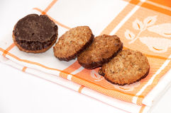Integral chocolate cookies on the kitchen tablecloth Stock Photography