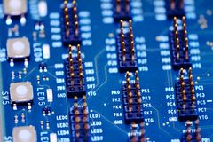 Integral circuitry pins macro Royalty Free Stock Images