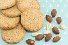 Integral cookies with almonds on blue dotted background Stock Photography