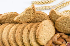 Integral cookies with almonds Stock Photo