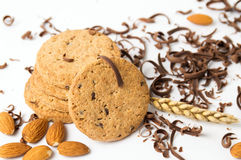 Integral cookies with almonds and chocolate pieces Royalty Free Stock Image