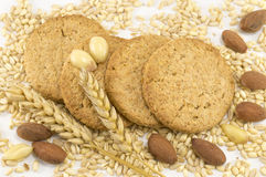 Integral cookies with almonds and wheat plant on white backgroun Royalty Free Stock Photography