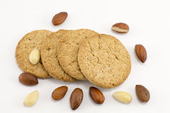 Integral cookies with almonds on white background Stock Photos