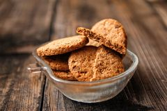 Integral cookies with cereal, dried fruit and chocolate royalty free stock photo