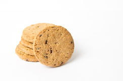 Integral cookies with chocolate pieces on white Royalty Free Stock Photo
