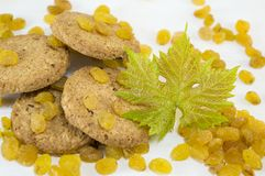 Integral cookies and yellow raisins Stock Image