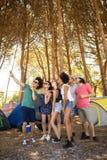 Integral de los amigos alegres que toman el selfie en el sitio para acampar Fotos de archivo