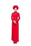 Integral de novia vietnamita en Ao rojo Dai Traditional Dress Foto de archivo libre de regalías