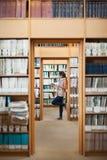 Integral de un estudiante que lee un libro en biblioteca Fotografía de archivo libre de regalías