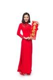 Integral de una mujer asiática hermosa en el festival tradicional c Foto de archivo