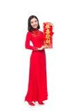 Integral de una mujer asiática hermosa en el festival tradicional c Fotografía de archivo