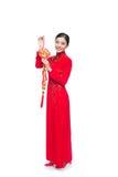 Integral de una mujer asiática hermosa en el festival tradicional c Fotos de archivo