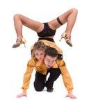 Integral del baile joven de los pares del ballet contra blanco aislado Imagen de archivo