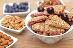 Integral fruit cakeS and ingredients Stock Image