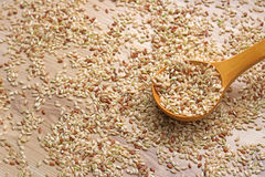 Integral rice in a wooden spoon and spilled grains around Royalty Free Stock Images