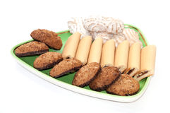 Integral serving cookies on a plate Stock Photo