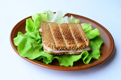 Integral toast, ham and cheese sandwich. Integral toast with sesame and other whole seeds, ham and cheese sandwich served on a brown porcelain plate over fresh Stock Photo