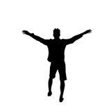 Integrale alzato allegro delle mani dell'uomo nero della siluetta isolato sopra il tipo felice del fondo bianco Fotografia Stock Libera da Diritti