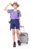 Integrale della giovane donna nella camminata casuale con la borsa di viaggio fotografia stock libera da diritti