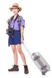 Integrale della giovane donna nella camminata casuale con la borsa di viaggio fotografia stock