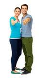 Integrale delle coppie che mostrano i pollici aumentano il segno Fotografia Stock Libera da Diritti