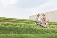 Integrale delle donne di affari con la tazza ed il computer portatile di caffè eliminabile che si siedono sull'erba fa un passo c Immagine Stock Libera da Diritti
