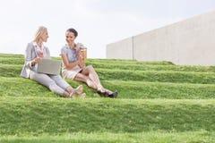 Integrale di giovani donne di affari con la tazza ed il computer portatile di caffè eliminabile che si siedono sull'erba fa un pa Immagine Stock Libera da Diritti