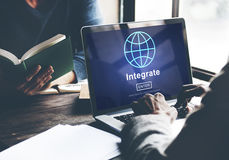 Integrate Combine Merge Online Web Concept. Business Integrate Online Web Concept Stock Images