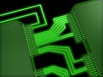 Integrated circuit. Illustration of a circuit board Stock Photography