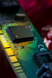 Integrated circuit. Close up of a integrated circuit on board Stock Photo