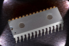 Integrated circuit. Isolated with lateral light Stock Photography