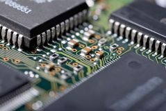 Integrated circuit. A macro close up at the integrated circuit Royalty Free Stock Image