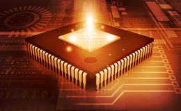 Integrated Circuit on binary background. IC chip Royalty Free Stock Image