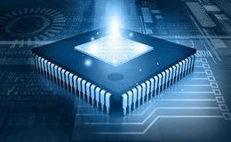 Integrated Circuit on binary background. IC chip Royalty Free Stock Photo
