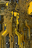 Integrated circuit board. Background close up Royalty Free Stock Photography
