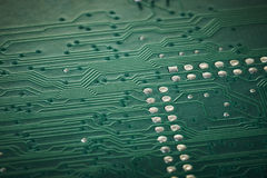 Integrated circuit board macro. With details of solder Stock Photography