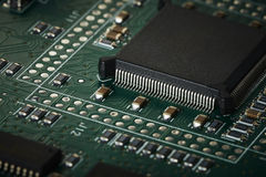 Integrated circuit board macro Royalty Free Stock Images