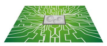 Integrated circuit boards CPU Stock Images