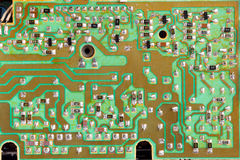 Integrated circuit,chip, cir,Green PCB close-up shot Royalty Free Stock Image