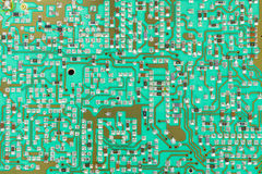 Integrated circuit,chip, cir,Green PCB close-up shot Royalty Free Stock Photography