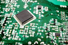 Integrated circuit. Chip close up on a integrated circuit Stock Photo