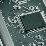 With the integrated circuit. Close-up Stock Photo