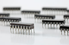 Integrated circuit microchip Stock Photo
