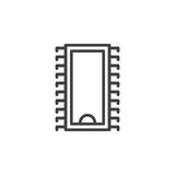 Integrated circuit, microchip line icon, outline vector sign, linear style pictogram isolated on white Stock Photography