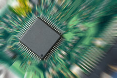 Integrated circuit. On pcb with zoom in effect Royalty Free Stock Photo