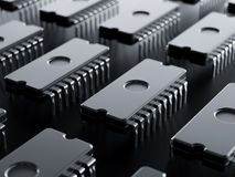 Integrated circuit raw . 3d render Royalty Free Stock Photo