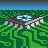 Integrated circuit. Recycle concept by integrated circuit on printed circuit board Royalty Free Stock Images