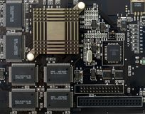 Integrated circuits. Close up of integrated circuits board Stock Images