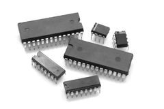 Integrated Circuits. Integrated circuit chips against white background Royalty Free Stock Photography