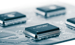 Integrated circuits. On the board Royalty Free Stock Photo